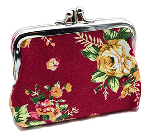 iSuperb Coin Pouch Purse Cute Double-layer Rose Pattern Canvas Gift Jewelry Cards Trinkets Pouch Clasp Closure Wallet (Wine) -