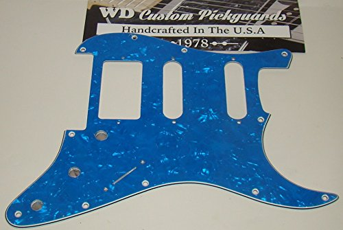 Replacement HSS Pickguard for Fender Stratocaster - Blue Pearl - Cut for Floyd Rose Bridge (Pickguard Floyd Rose)