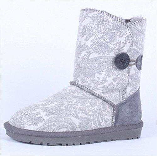 cotone neve rotondi QPYC Stivali grandi con fine Una scarpe da da fibbia delle taglio donna tail alla di tendine con gli dimensioni rotondo di gray Stivali stivali zqz0rxP