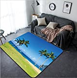 Vanfan Design Home Decorative Coconut Palm trees on the sandy Poipu beach in Hawaii Kauai Modern Non-Slip Doormats Carpet for Living Dining Room Bedroom Hallway Office Easy Clean Footcloth