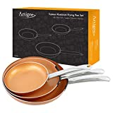 Artigee Copper Frying Pan 3-Pack - Non-Stick Ceramic Copper Cooking Pans - Premium