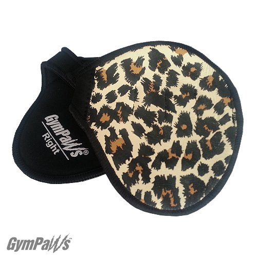 Leather Weightlifting Gym Grips with 4 Finger Loops - Mens - Womens Workout Gloves (Cheetah)