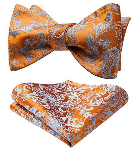 SetSense Men's Paisley Jacquard Wedding Party Self Bow Tie Pocket Square Set Orange/Blue