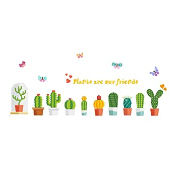 fb184ea78e0 VORCOOL Pegatinas de Pared PVC Plantas en Macetas Mariposas Flores Vinilos  Decorativos Decoración Pared Decoración del Hogar 30 x 90cm  Amazon.es   Hogar