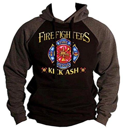 Firefighters Kick Ash Funny Hoodie Fireman Volunteer Sweatshirt S-2XL (XL, Charcoal/Black)