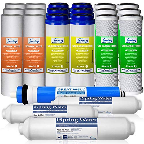 iSpring F22-75 3-Year 75GPD Filter Replacement Supply Set For 5-Stage Reverse Osmosis Water Filtration Systems ()