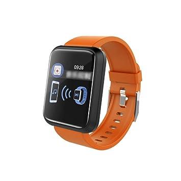 Pulsera Inteligente, Pantalla a Color, frecuencia cardíaca, monitorización de la presión Arterial, Deportes, Deportes, Paso, Reloj (Color : Orange): ...
