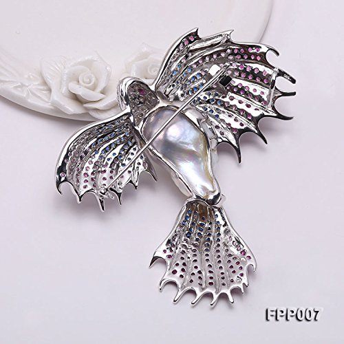 JYX Fine Bird-style White Baroque Pearl Pendant Brooch by JYX Pearl (Image #4)
