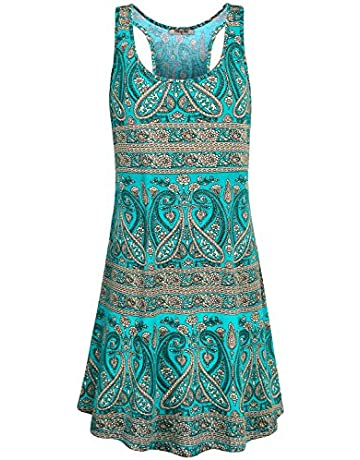95bb168539 Hibelle Women s Scoop Neck Sleeveless Casual Printed Tank Dress with Pockets
