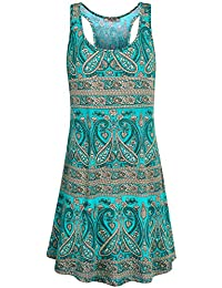 Women's Scoop Neck Sleeveless Casual Printed Tank Dress with Pockets