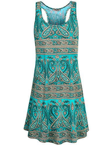 Hibelle Dress for Women, Ladies Scoop Neck Sleeveless Print Summertime Patterned Holiday Tank Dress with Pockets Green L - Tank Princess Dog
