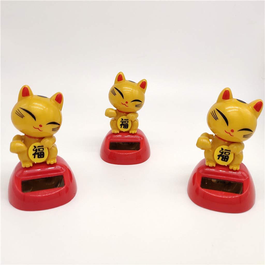 Homyl Golden Dancing Lucky Cat Figure Model Solar Power Model Doll Figurine Statue Kid Educational Science Toy Gift Home Decor