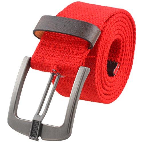 [Samtree Canvas Web Belts for Women Men,Adjustable Multi-color Hole Buckle Belt (Red)] (Ladies Canvas Belts)