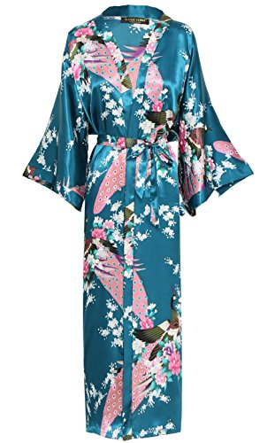 BABEYOND Womens Kimono Robe Long Robes with Peacock and Blossoms Printed (Turquoise)