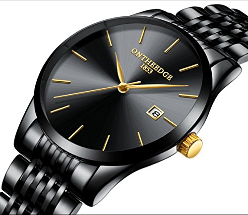 L& H Jewelry Mens Business Watch Fashion Super Thin Quartz Movement Analog Watch Pointer Display Watch (Pure Blak) by L & H Jewelry