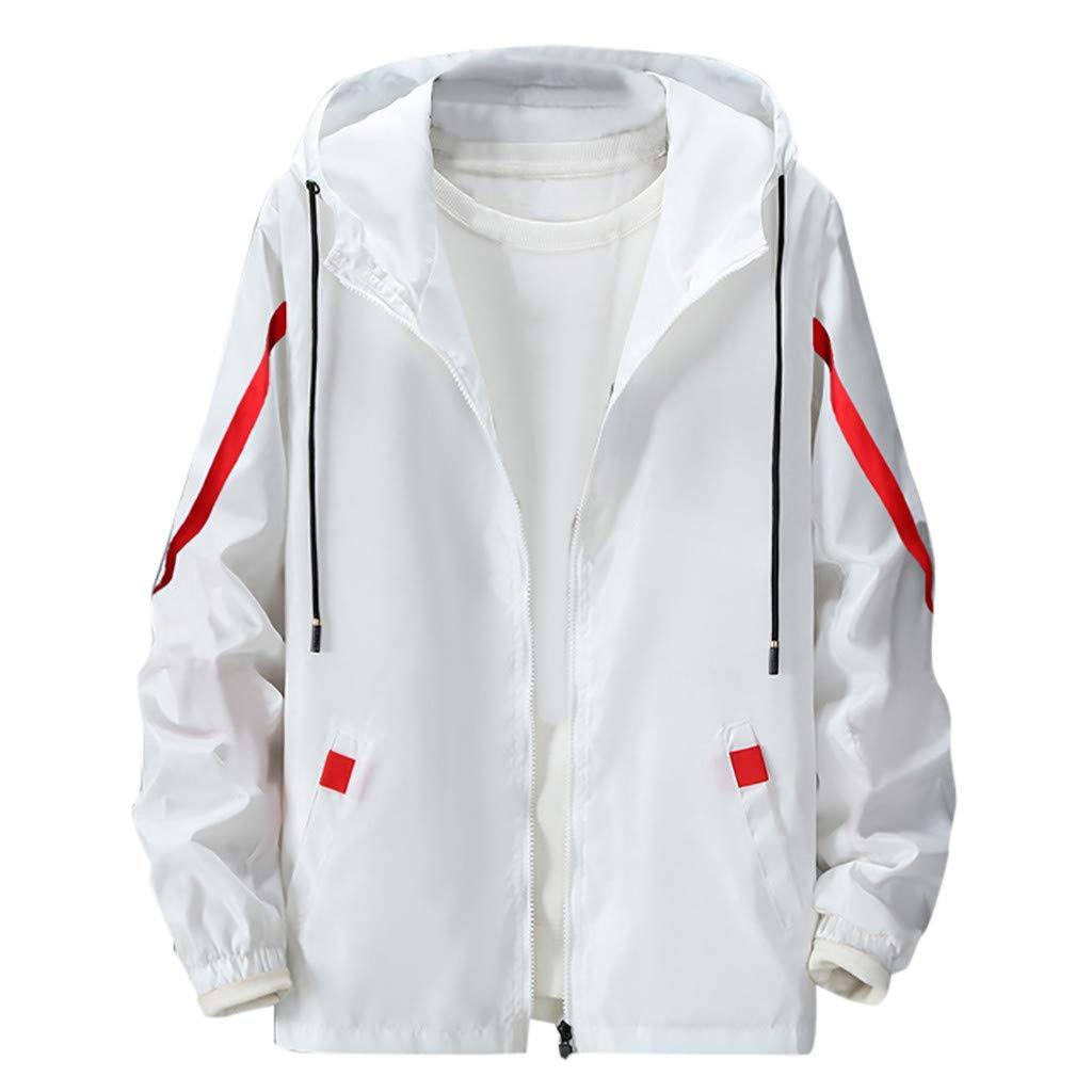 Amandaz Clothes Splicing Hooded Thin Jacket Sports Jacket Men Outdoor Outwear Coat Winter Youth Warm Pocket Windbreaker White by Amandaz Clothes