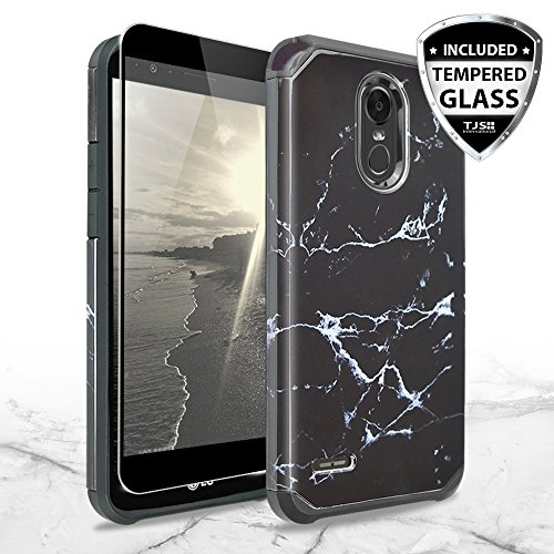 LG Stylo 3 Case, LG Stylo 3 Plus Case, with TJS [Full Coverage Tempered Glass Screen Protector] Ultra Thin Slim Hybrid Shockproof Drop Protection Impact Rugged Marble Case Armor Cover (Black)
