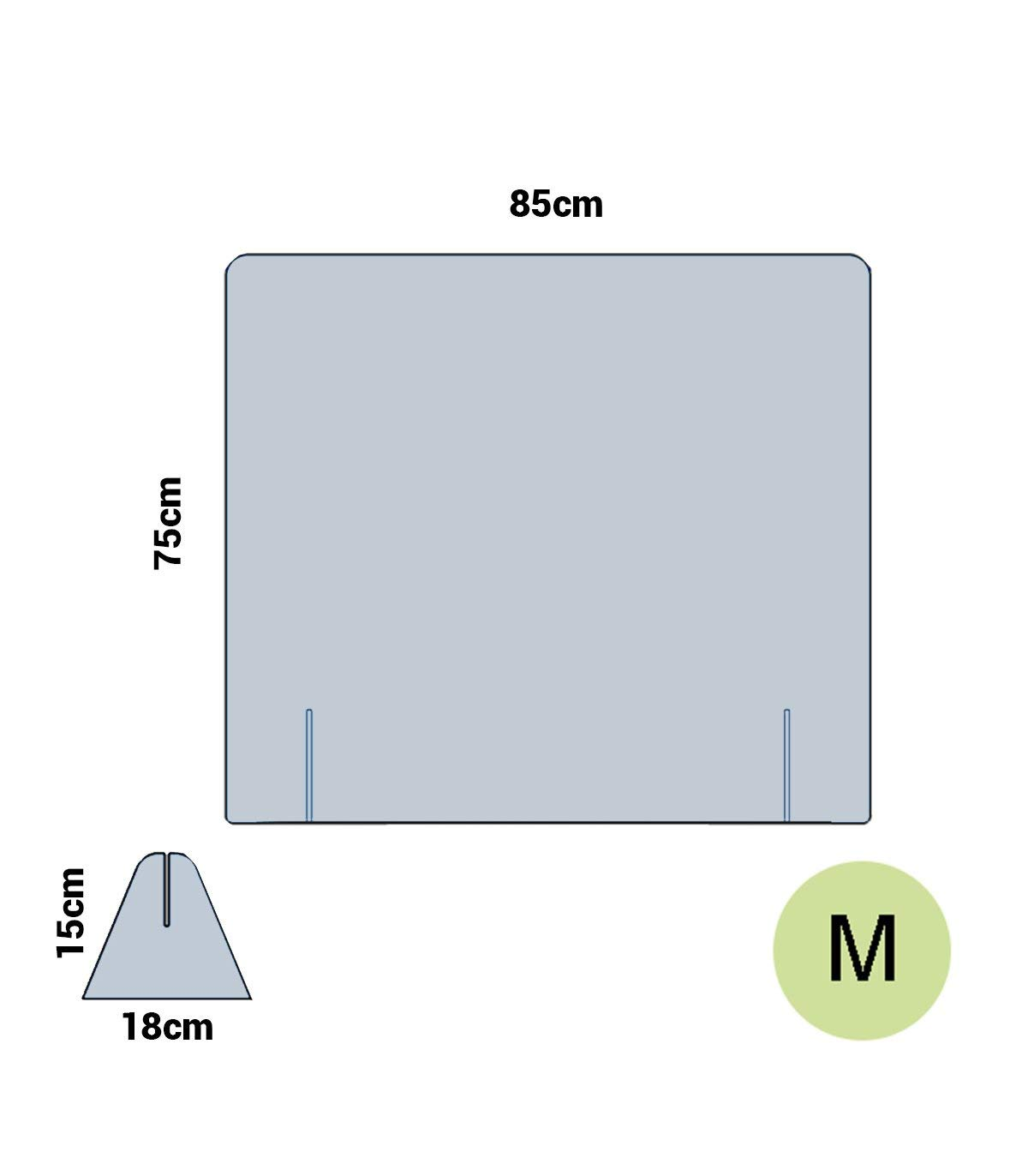 65 cm ancho, Sin Ventana Mampara anticontagio de metracrilato a medida