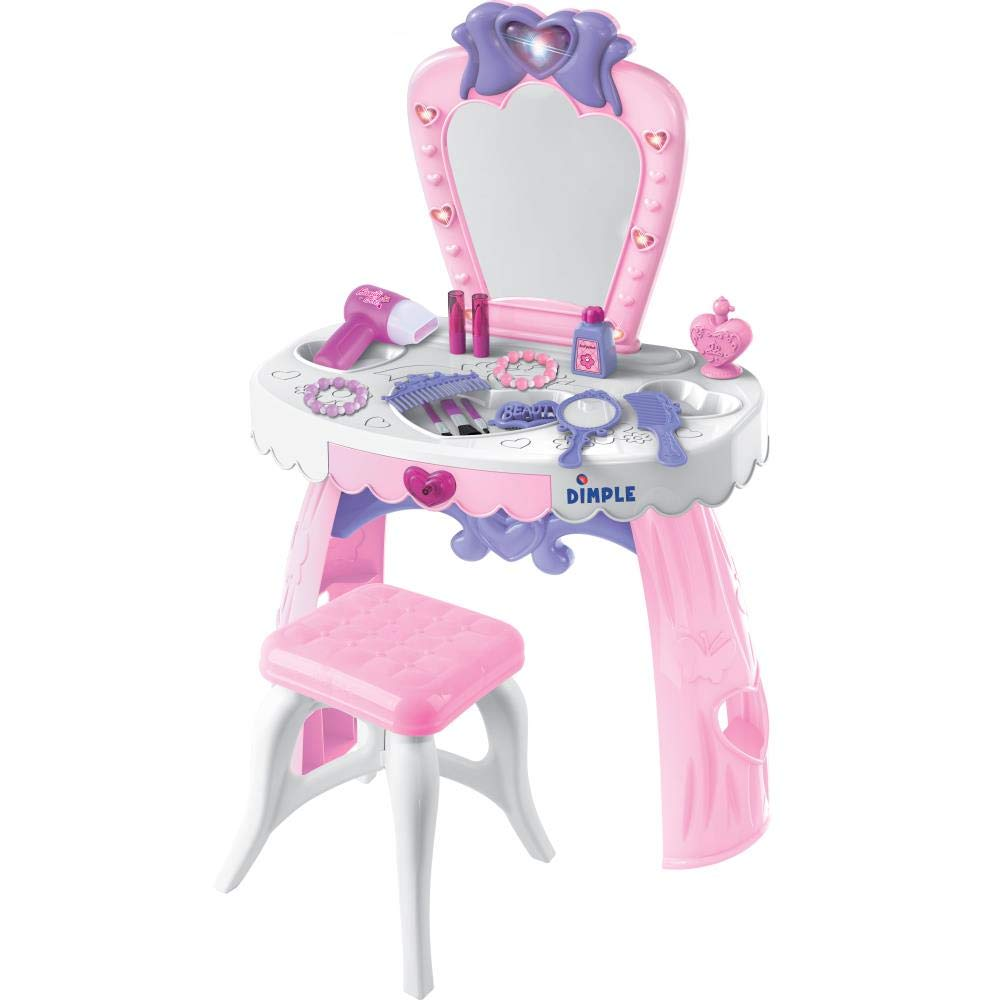 Dream Dresser Vanity Set kids toy with 14 pretend fashion accessories | Playset includes Stool, Nail Polish, Perfume and Lipstick Bottles, Comb, Blow Dryer, Bracelets, Tiara, Hand Mirror, Built in Mirror and Drawer, by Dimple