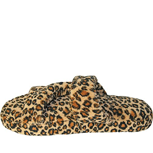Fluffy Leopard Slippers Z DAWGS Women's Flat 05xq6XXw