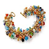 Cobalt Blue Orange Green Red Mosaic Millefiori Murano Glass Beads Toggle Bracelet 'Mystique Of Venice'