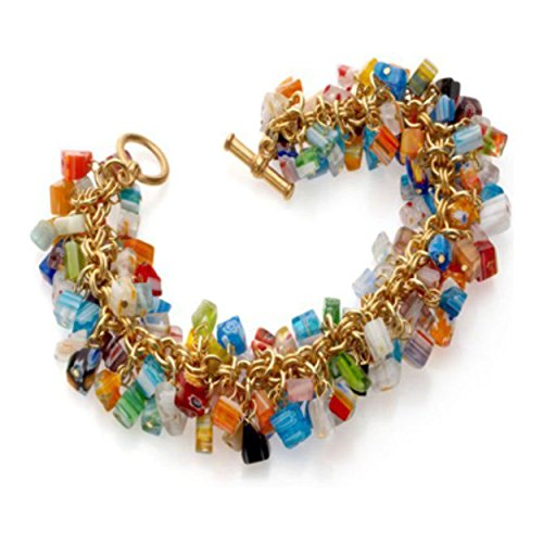 Murano Glass Bracelet Gold (Cobalt Blue Orange Green Red Mosaic Millefiori Murano Glass Beads Toggle Bracelet 'Mystique Of Venice')