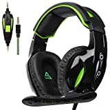SUPSOO G813 New Xbox one Gaming Headset, Wired 3.5mm Stereo Over Ear Gaming Headset Mic&Noise Cancelling & Volume Control New Xbox One/PC / Mac/ PS4/ Table/Phone (Black&Green)