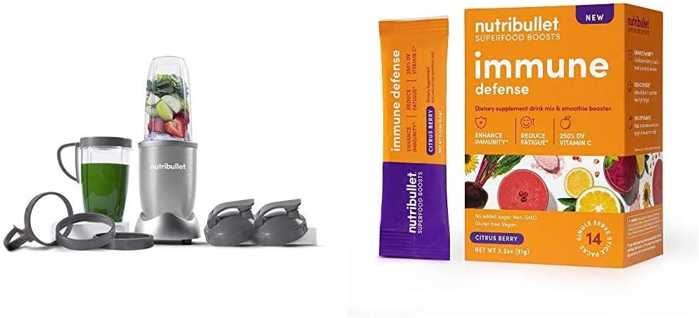 NutriBullet NB9-1301S Pro 13 Pcs Silver with SuperFood Immune Defense Boosts - 14 Single Serve Packs