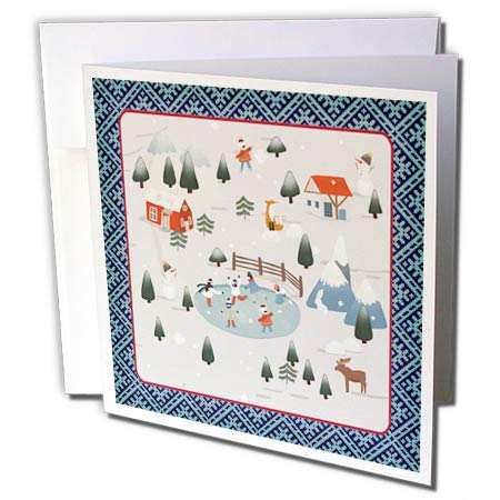 - 3dRose Beverly Turner Christmas Design - Winter Village, Ice Skaters, Snowmen, Fox, Moose, Homes, and Mountains - 12 Greeting Cards with envelopes (gc_302951_2)
