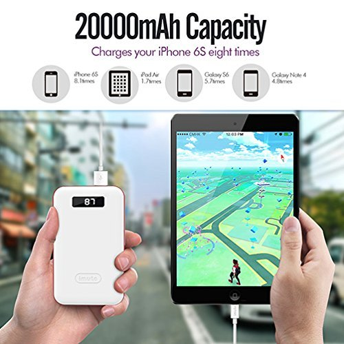 iMuto 20000mAh little External Battery strength Bank easily transportable Charger together with sensible LED Digital show and quickly impose Backup Battery Pack for iPhone X 10 8 7 6 Plus iPad Air 2 minuscule 3 Pro Nintendo Switch sensible handsets and Tablets White travel Chargers