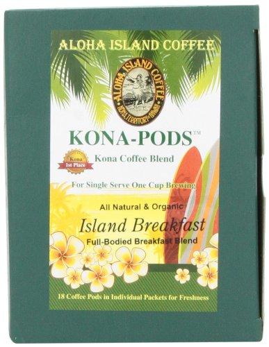 Aloha Island Coffee KONA-POD, Island Breakfast Med Light Roast, Kona & Hawaiian Coffee Blend, 18 Pods, 2 Packs Aloha Island Island Breakfast