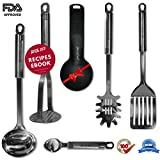 Royal Stainless Steel Kitchen Utensils Set & Cooking Tools, Nonstick Cookware Utensils, Potato Masher, Slotted Turner, Soup Ladle, Spaghetti Spoon, Ice Cream Scoop With Gift (6 piece)