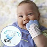 Baby Teether Mittens for Babies Teething, Boys&Girls Infant Silicone Self-Soothing Pain Relief Gloves in Blue or Pink Color, BPA Free - By YellowGreen