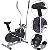 Gymax Air Fan Bike, 2 in 1 Elliptical Fan Trainer Exercise Bike Indoor Home Cycling Fan Bike Exercise Machine