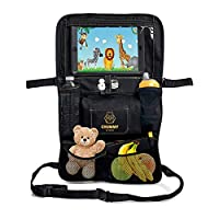 Car Back Seat Toy Organizer - Tablet Ipad Holder, Wet Wipes Compartment and Large Stretchy Pockets - Perfect Travel Accessories - Multipurpose use as Storage Bag, Kick Mat Protector, Carseat Cover