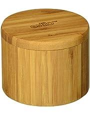 Estilo Single Round Salt or Spice Box with Lid, Bamboo