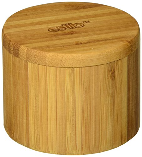 (Estilo Single Round Salt or Spice Box with Lid, Bamboo - EST2585)