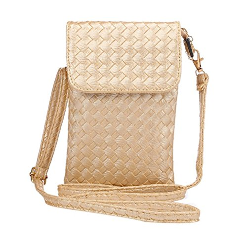 PU Leather Woven Cellphone Pouch Bag for iPhone, Galaxy and More
