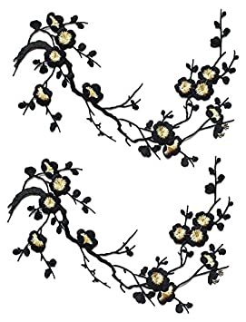EmmasByEmma Two Asian Cherry Blossom Sakura Flower Iron on Embroidered Appliques Patch Japanese Chinese Yellow