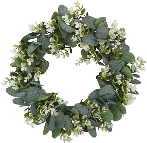 "WREATHLAB Artificial 20"" Eucalyptus Wreath Floral Garland for Summer Fall & Spring Good for Porch Farmhouse Patio Garden Perfect Flower Decoration for Home Front Door Wall Decor Indoors & Outdoor"