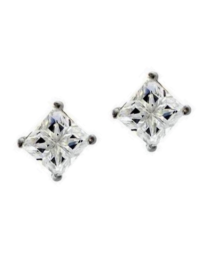 Invisible Square Cut Clear Cubic Zirconia Sterling Silver Basket Set Stud Earrings 5mm