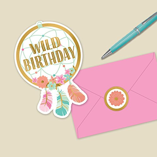 Amscan Boho Birthday Girl Post Card Invitations, 2-Pack