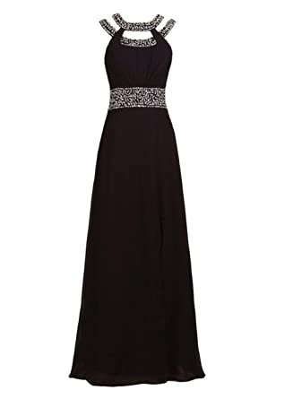 Fanciest Womens Halter Beaded Long Prom Dresses Evening Formal Gowns Black UK6