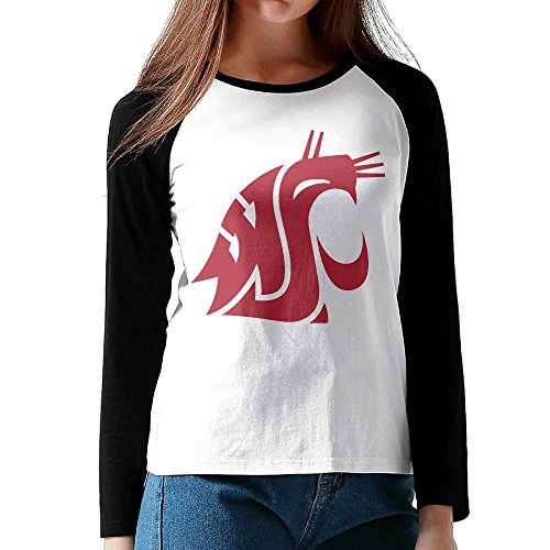 CuteBee Washington State University Cougars Women's Long Sleeve Raglan Tshirts Black S - Washington State University Clothing