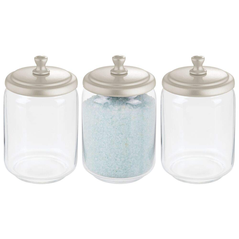 mDesign Modern Glass Bathroom Vanity Countertop Storage Organizer Canister Apothecary Jar for Cotton Swabs, Rounds, Balls, Makeup Sponges, Bath Salts - 3 Pack - Clear/Satin