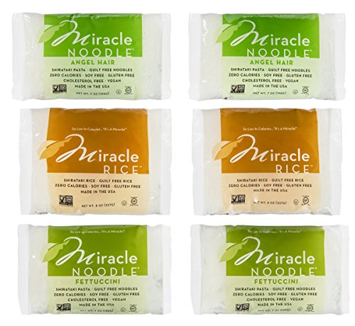 Miracle Noodle Shirataki Zero Carb, Gluten Free Pasta, 6 bag Variety Pack, 44 ounces (Includes: 2 Shirataki Angel Hair, 2 Shirataki Rice and 2 Shirataki Fettuccini)