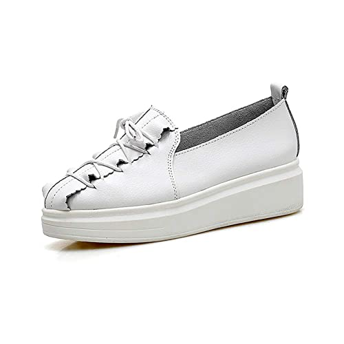 Las Mujeres Planas Mocasines De Lujo Zapatos De Costura Suave Ocasional con Cordones De Cuero De Vaca SóLido TacóN Medio Plataforma Zapatillas De Deporte: ...