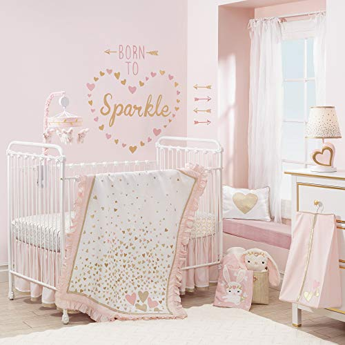 Lambs & Ivy Confetti Heart 4 Piece Crib Bedding Set, Pink/Gold (Princess Crib Bumper)