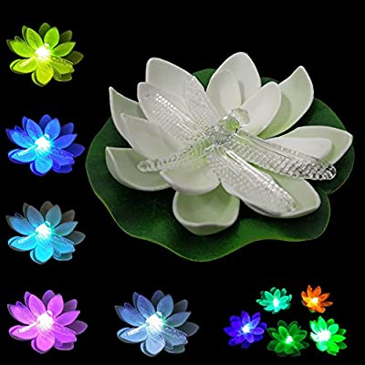LOGUIDE Dragonfly LED Lotus Light Waterproof Firefly Trendy Hip Unique Color-changing Flower Night Lamp Garden house Lights for Pool Party Fancy Ideal Novel Creative Gift Christmas