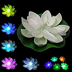 LOGUIDE Dragonfly LED Lotus Light Waterproof Firefly Trendy Hip Unique Color-changing Flower Night Lamp Garden house Lights Pool Party Fancy Ideal Novel Creative Gift Christmas (Dragonfly)